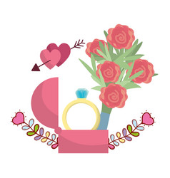 wedding floral decoration cartoon vector image