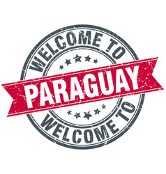 Welcome to paraguay red round vintage stamp vector
