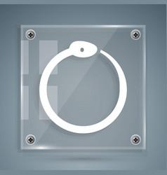 White magic symbol ouroboros icon isolated vector