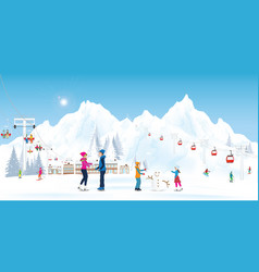 winter holidays recreation sport activity vector image