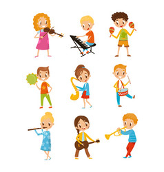 children playing music instrument talented little vector image