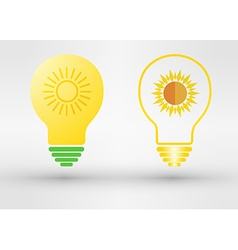 Light bulb with solar panels texture and sun vector image