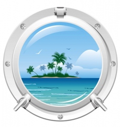 porthole with sea view vector image vector image