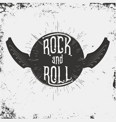 rock and roll music print grunge print for vector image vector image