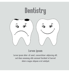 Sad aching tooth and cheerful healthy tooth vector image vector image
