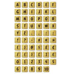 alphabet font set on wood signs vector image