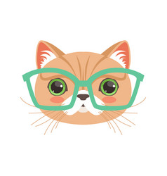 cute cat wearing glasses funny cartoon animal vector image