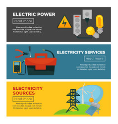 electric power electricity sources and services vector image vector image