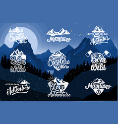 set of hiking emblems on background with vector image
