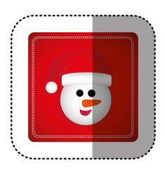 sticker colorful square frame with cartoon snowman vector image