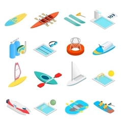 Water sport isometric 3d icons vector image vector image
