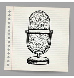 Doodle retro microphone vector image vector image