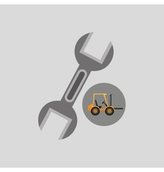 Excavator machine wrench tool graphic vector