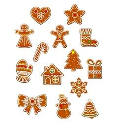 Gingerbread christmas figures set vector
