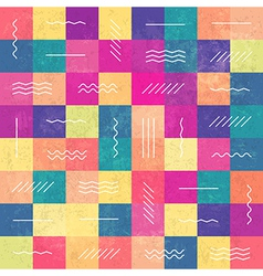 retro seamless pattern color squares and lines vector image vector image