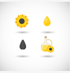 sunflower oil flat icons set vector image vector image