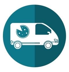 Pizza delivery car van service shadow vector