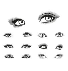 woman eyes set vector image vector image