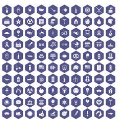 100 summer holidays icons hexagon purple vector