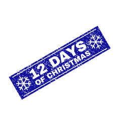 12 days of christmas scratched rectangle stamp vector