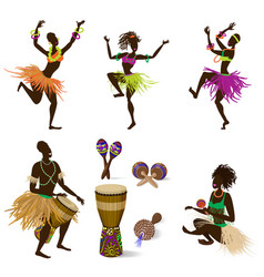 A set dancing figures people and african vector