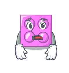 Afraid toy brick mascot cartoon vector
