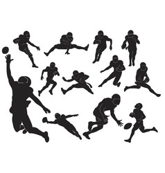 American football jump run movement black vector