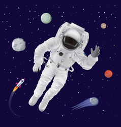 Astronaut and planets poster vector