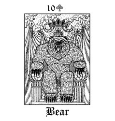 Bear tarot card from lenormand gothic mysteries vector