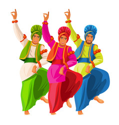 bhangra dancers in national cloth vector image