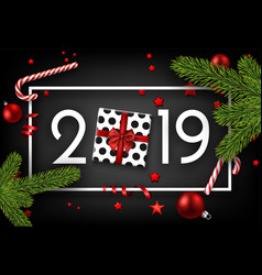 black 2019 happy new year card with top view gift vector image