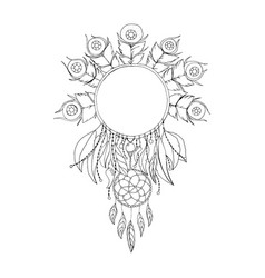 black and white dreamcatcher symbol isolated vector image