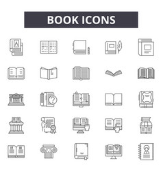 book line icons signs set outline vector image