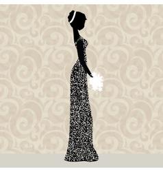 Bride in glittering dress vector