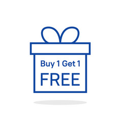 Buy 1 get one free with linear giftbox vector
