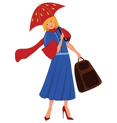 Cartoon woman in blue coat with red umbrella vector image