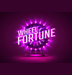 casino neon colorful fortune wheel purple vector image
