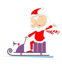 Cheerful santa claus rides on snowmobile vector