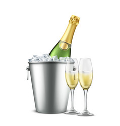 Chilled champagne in wine glasses realistic vector