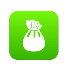 christmas bag of santa claus icon digital green vector image