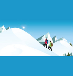 climbers is hiking in snowy winter mountains in vector image
