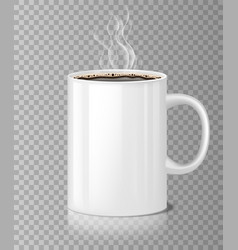 Coffee or tea cup mockup with white steam isolated vector