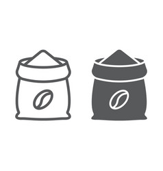 coffee sack line and glyph icon coffee and cafe vector image