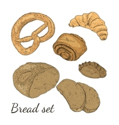 Color hand drawn bakery set isolated vector image