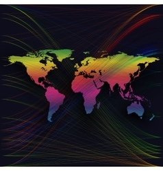 Colorful background with world map abstract waves vector