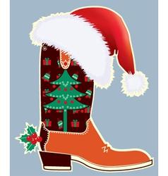 Cowboy christmas card vector