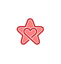 creative star and heart inside symbol logo vector image
