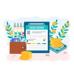 Credit report concept wallet with money credit vector