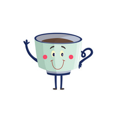 cup of black coffee or tea cartoon character vector image