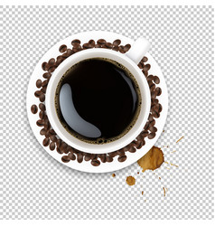 Cup with coffee and plate and coffee grain and vector
